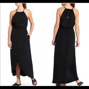 Athleta Ripple keyhole Maxi dress black sz small